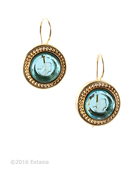 From our Mykonos Collection for Spring/Summer. Inspired by the beautiful waters of the Greek Island Mykonos. Shown in Gold Plate, transparent Aqua German Glass intaglio earring. Measures just over 1/2 inch in diameter. French hook. Gold Plate over bronze. Each earring made to order in the USA from the world's finest materials.