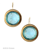 Gold Plate. From our Mykonos Collection for Spring/Summer, transparent Aqua German glass intaglio earring. Measures approximately 1 inch in diameter. French hook closure. Shown in 14K Gold Plate, also in Bronze by request. Each earring made to order in the USA from the world's finest materials.