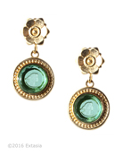From our Mykonos Collection for Spring/Summer. Inspired by the beautiful waters off the Greek Island of Mykonos. Shown in Gold Plate, transparent Seafoam German glass intaglio Post earring. Measures  approximately 1 1/2 by 1/2 inch. Post. 14k Gold Plate over bronze. Each earring made to order in the USA from the world's finest materials.