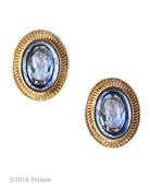 From our Mykonos Collection for Spring/Summer. Inspired by the beautiful waters off the Greek Island of Mykonos. Shown in Gold Plate, transparent Sapphire German glass intaglio earring. Measures 1 by 3/4 inch. Clip earring. 14K Gold Plate over bronze. Each earring made to order in the USA from the world's finest materials.