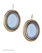 From our Mykonos Collection for Spring/Summer. Inspired by the beautiful waters off the Greek Island of Mykonos. Shown in Gold Plate, translucent Sapphire German glass cameo earring. Measures 1 1/8 by 7/8 inch. French Hook. 14K Gold Plate over bronze. Each earring made to order in the USA from the world's finest materials.