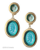 From our Mykonos Collection for Spring/Summer. Inspired by the beautiful waters off the Greek Island of Mykonos. Shown in Gold Plate, our Clip earring with translucent Zircon German glass cameo drop, transparent Aqua German glass intaglio top. Measures 2 inches by 7/8 inch. In 14k Gold Plate over bronze. Each earring made to order in the USA from the world's finest materials.