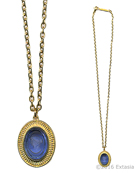 From our new Mykonos Collection. Inspired by the beautiful waters off the Greek Island of Mykonos. In Gold Plate, simple chain and a transparent Sapphire German glass intaglio pendant. Medium size pendant measures 1 by 3/4 inch. Necklace is 19 inches in length. Each necklace made to order in the USA.