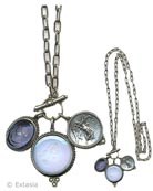 New! Convertible Milkglass & Periwinkle Intaglio Necklace, price: $308.00. Click on 'Large View' for large picture