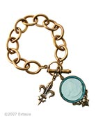 Our bold charm bracelet with new transparent Aqua German glass intaglio. The large round intaglio charm measures 1 1/4 inch in diameter and is paired with our classic Fleur de Lis charm. Substantial link chain makes this piece a simple and elegant statement. We absolutely love the new Aqua color for Spring! Shown in our signature bronze metal.