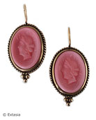 A color for the Spring season, our opaque Dusty Rose German glass cameo earring, in a classic setting.. Dust Rose is a salmon pink color, perfect for a pop of color in Spring/Summer.  Cameo measures 3/4 inch in height. Bronze. Each earring made to order in the USA.