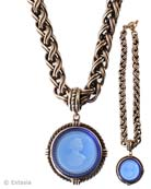 Transparent Sapphire Blue German glass intaglio in our large 1 1/2 inch diameter pendant. The substantial chain necklace is 18 inches in length. A Goes With Everything piece. Shown in our signature bronze. Each necklace made to order in the USA.
