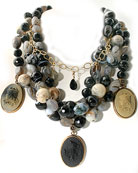 Our 3 German glass cameo necklace on multi-strands of Agate, Opal, Onyx and Labradorite Mix. Cameos are 1 1/4 by 7/8 inch, necklace is 16 inches, adjustable to 20 inches. Cameo images are from Greek mythoogy, of Venus and Medusa.