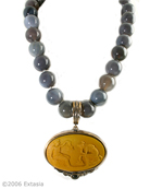 Ochre Cameo Statement Necklace, price: $369.00. Click on 'Large View' for large picture