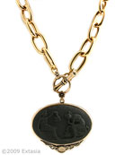 From our Minerva Collection,  opaque Jet German Glass Cameo on large bronze link chain. Beautiful scene from antiquity of two women, the large pendant measures 2 1/4 by 1 1/2 inches. Large link chain measures 18 inches. Shown in our signature bronze metal.