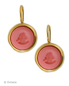 Shown in Gold Plate, our small Marlene round earring in opaque Dusty Rose German glass intaglio. Classic, simple, perfect for daytime, with a white blouse, or eveningwear! Dusty Rose is a salmon pink color, very Spring, all of our pinks/peaches are at their best in Gold plate! Small earring measures just 1/2 inch in diameter. French hook. 14K Gold plate over bronze. Each earring made in the USA. rn