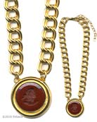 A statement necklace with our opaque Marsala German glass intaglio. Large pendant is just over 1 1/2 inches in diameter. Necklace measures 17 inches with a 3 inch adjustor to extend it to 20 inches. Shown in Gold Plate. Each necklace made to order in the USA.