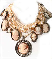 Victorian pearl necklace with multiple shell cameo charms