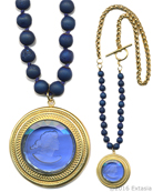 From our new Mykonos Collection for Spring/Summer. Inspired by the beautiful waters off the Greek Island of Mykonos. In 14k Gold Plate, transparent Sapphire German glass intaglio with hand -knotted dyed druzy beads. Pendant measures 1 3/4 inches in diameter, necklace is 24 inches in length. Shown in 14k Gold Plate over bronze metal. Each necklace made to order in the USA from the world's finest materials.