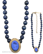From our new Mykonos Collection for Spring/Summer. Inspired by the beautiful waters off the Greek Island of Mykonos. In 14K Gold Plate, opaque French Blue pendant on hand-knotted genuine Lapis beads. Pendant measures approximately 1 by 3/4 inch. Necklace is 15 inches adjustable to 18 inches. Shown in 14K Gold Plate. Each necklace made to order in the USA from the world's finest materials.