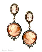 From our Victoriana collection, gorgeous clip drop earring in Italian Shell Cameos. The large statement earring measures 2 1/4 inches long by 1 inch wide. An heirloom earring! Shown in our signature bronze. Also available in Gold or Silver plate finishes. Clip earring. Each earring made to order in the U.S.A. Please note that this one of our heavier earrings, but very popular with our European customers.