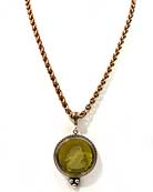 "Our popular medium weight chain necklace in Moss German glass intaglio for Fall. (Or Spring for our Down Under customers!) This is a great piece for day or evening. 18"" bronze chain. Pendant is 1 1/4"" (30mm) diameter."