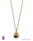 From our Watch Fob Collection, vintage watch fob pendant with transparent Amethyst hand-pressed German glass intaglio. Affixed to the bottom of the fob, or seal, our intaglio is set in the delicate metal fob. In the European tradition of wearing the fob as a pendant or charm. Small pendant is 1/2 by 1/2 inch. 18 inch chain.