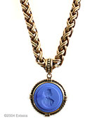 French Blue color for our bestselling statement necklace. Opaque French Blue German glass intaglio in our large 1 1/2 inch diameter pendant. The substantial chain necklace is 18 inches in length. A new color we love, a Goes With Everything piece. Shown in our signature bronze.