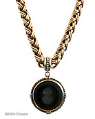 Opaque Jet German glass intaglio in our large 1 1/2 inch diameter pendant. The substantial chain necklace is 18 inches in length. Classic black, a goes with everything piece. Shown in our signature bronze.