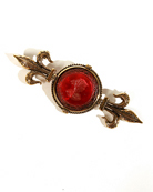 "Our ever popular and easy to wear Fleur de Lis pin has a 21 mm round intaglio in ruby glass.  Overall 3"" in length."