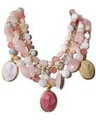 Pink coloration for our 3 German glass cameo necklace on multiple strands of mixed semi-precious beading. Angel Skin, Dusty Rose and Lava cameos are 1 1/4 by 7/8 inch, necklace is 16 inches, adjustable to 20 inches. Cameo images are from Greek mythology. Shown in Gold plate.