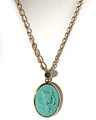 From the Minerva Collection, our mint (turquoise) German glass cameo necklace. Beautiful cameo image is from mythology of Athena, often pictured with an owl, as shown here. Medium sized pendant is 1 1/4 by 3/4 inch. Necklace length is 16 inches, adjustable to 20 inches. Red bronze
