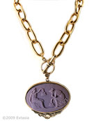 From our Minerva Collection. Opaque Eggplant German Glass Cameo. Beautiful scene from antiquity of two women, the large pendant measures 2 1/4 by 1 1/2 inches. Large link chain measures 18 inches. A bold modern look for our classic cameos. Shown in our signature bronze metal. Each necklace is hand-made to order in the U.S.