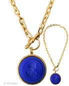 Large pendant necklace on beautiful chain. Shown in Gold Plate, with our opaque Lapis German glass intaglio pendant. Pendant is 1 1/2 inches in diameter, chain is 18 inches in length. Lapis is a stunning deep blue. Each necklace made to order in the USA.