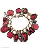 Shown here in our fabulous transparent Ruby hand pressed German glass intaglios, largest charm measures 1 1/4 inches in length. With twenty-one intaglio and metal charms,  our bracelet is just over 7 1/2 inches in length.  Each bracelet made to order in the U.S.A.