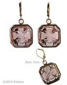 Octagonal transparent Taupe German glass intaglio earring with Gothic Quatrefoil back. Very pretty, on Euro-wire. Earrings measure 1 inch square. Shown in our signature Bronze metal.