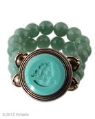 From our Scala Collection, beaded bracelet with opaque Mint German glass intaglio. Center piece is 1 1/2 inches in diameter. Stretchable beading is of lovely faceted Green Aventurine. Shown in our signature Bronze metal. Each bracelet made to order in the USA from the worlds finest materials.