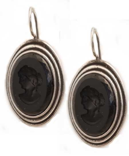 Scala Jet and Silver Plate Earring, price: $140.00. Click on 'Large View' for large picture