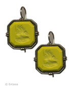 From our classic Kyros Collection, simple elegant metalwork setting for our opaque Acide green German glass intaglio. Medium to large earrings measure 7/8 inch wide. Acide has been one of our best Fall colors. Bronze. Each earring made in the U.S.A.